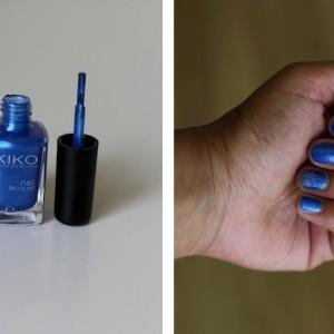 Bleu azur avec le vernis Kiko Azzurro
