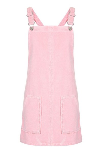 Robe tablier en velours rose Topshop