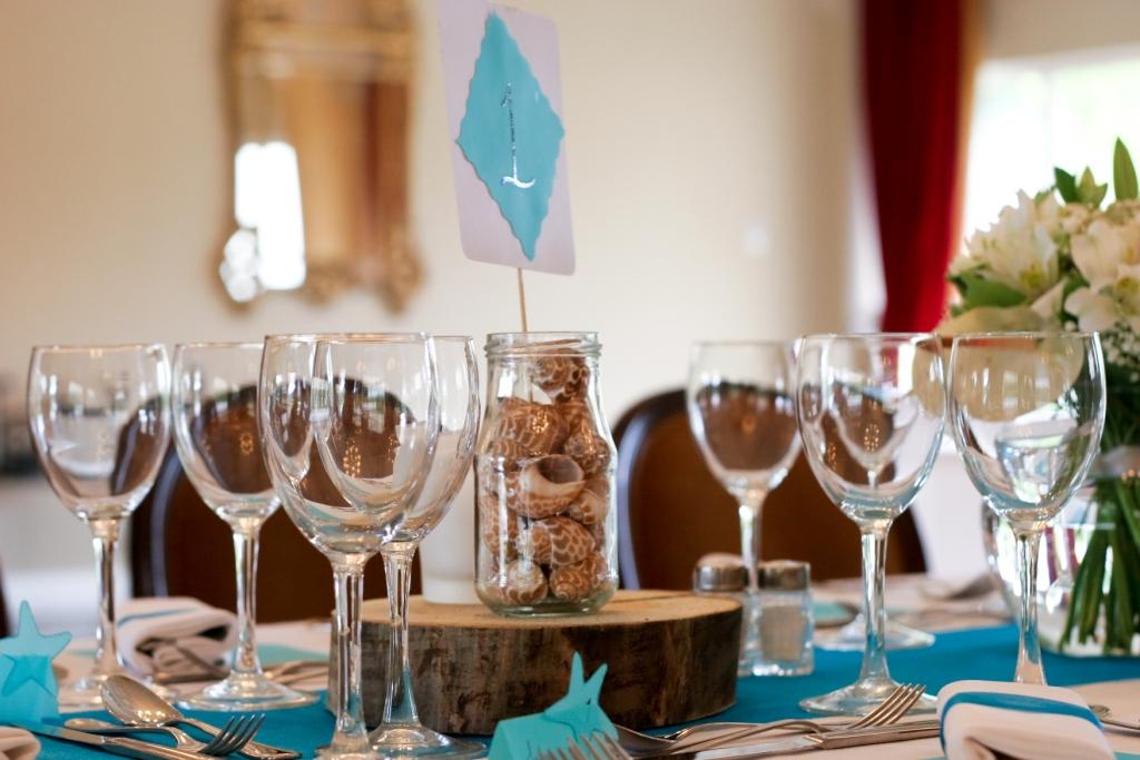 bocaux, dragées, original, bleu, chocolat, ruban organza, numéro de table, coquillage