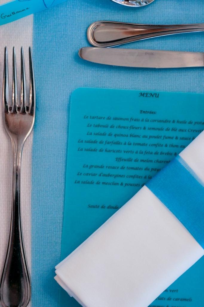 bocaux, dragées, original, bleu, chocolat, ruban organza, menu