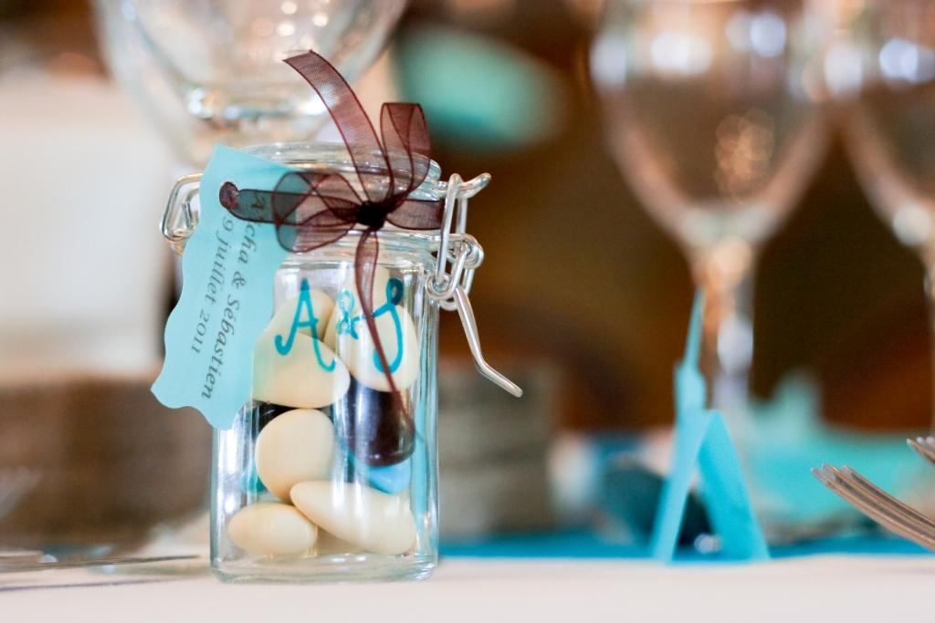 bocaux, dragées, original, bleu, chocolat, ruban organza